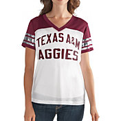 G-III For Her Women's Texas A&M Aggies Fan Club White/Maroon Mesh V-Neck Top