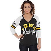 Touch by Alyssa Milano Women's Iowa Hawkeyes Reflex Black Raglan 3/4 Sleeve Shirt