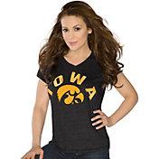 Touch by Alyssa Milano Women's Iowa Hawkeyes Sparkle Black V-Neck T-Shirt