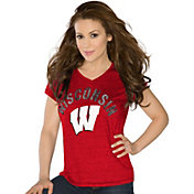 Touch by Alyssa Milano Women's Wisconsin Badgers Red Sparkle V-Neck T-Shirt