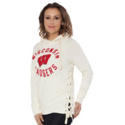 Touch by Alyssa Milano Women's Wisconsin Badgers Weekend Raglan White Pullover Hoodie