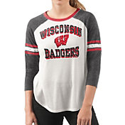 G-III For Her Women's Wisconsin Badgers White/Black Backfield Raglan 3/4 Sleeve Shirt