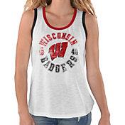 G-III For Her Women's Wisconsin Badgers Reverse Standing White Tank Top