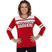 Touch by Alyssa Milano Women's Wisconsin Badgers White/Red Offside 3/4 Sleeve Shirt