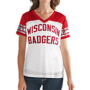 G-III For Her Women's Wisconsin Badgers Fan Club White/Red Mesh V-Neck Top