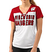 G-III For Her Women's Wisconsin Badgers Shake Down White V-Neck Top