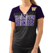 G-III For Her Women's Washington Huskies Shake Down Black V-Neck Top