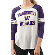 G-III For Her Women's Washington Huskies White/Purple Backfield Raglan 3/4 Sleeve Shirt