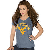 Touch by Alyssa Milano Women's West Virginia Mountaineers Blue Sparkle V-Neck T-Shirt