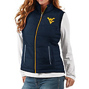 G-III For Her Women's West Virginia Mountaineers Blue First Down Polyfill Vest