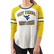 G-III For Her Women's West Virginia Mountaineers White/Gold Backfield Raglan 3/4 Sleeve Shirt