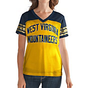 G-III For Her Women's West Virginia Mountaineers Fan Club Gold/Blue Mesh V-Neck Top