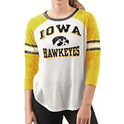 G-III For Her Women's Iowa Hawkeyes White/Gold Backfield Raglan 3/4 Sleeve Shirt
