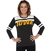 Touch by Alyssa Milano Women's Iowa Hawkeyes White/Black Offside 3/4 Sleeve Shirt