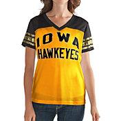 G-III For Her Women's Iowa Hawkeyes Fan Club Gold/Black Mesh V-Neck Top