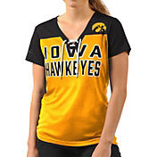 G-III For Her Women's Iowa Hawkeyes Gold Shake Down V-Neck Top