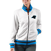 G-III Women's Carolina Panthers Field Goal Rhinestone Track Jacket
