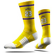 Strideline Los Angeles Lakers LeBron James Jersey Yellow Crew Socks