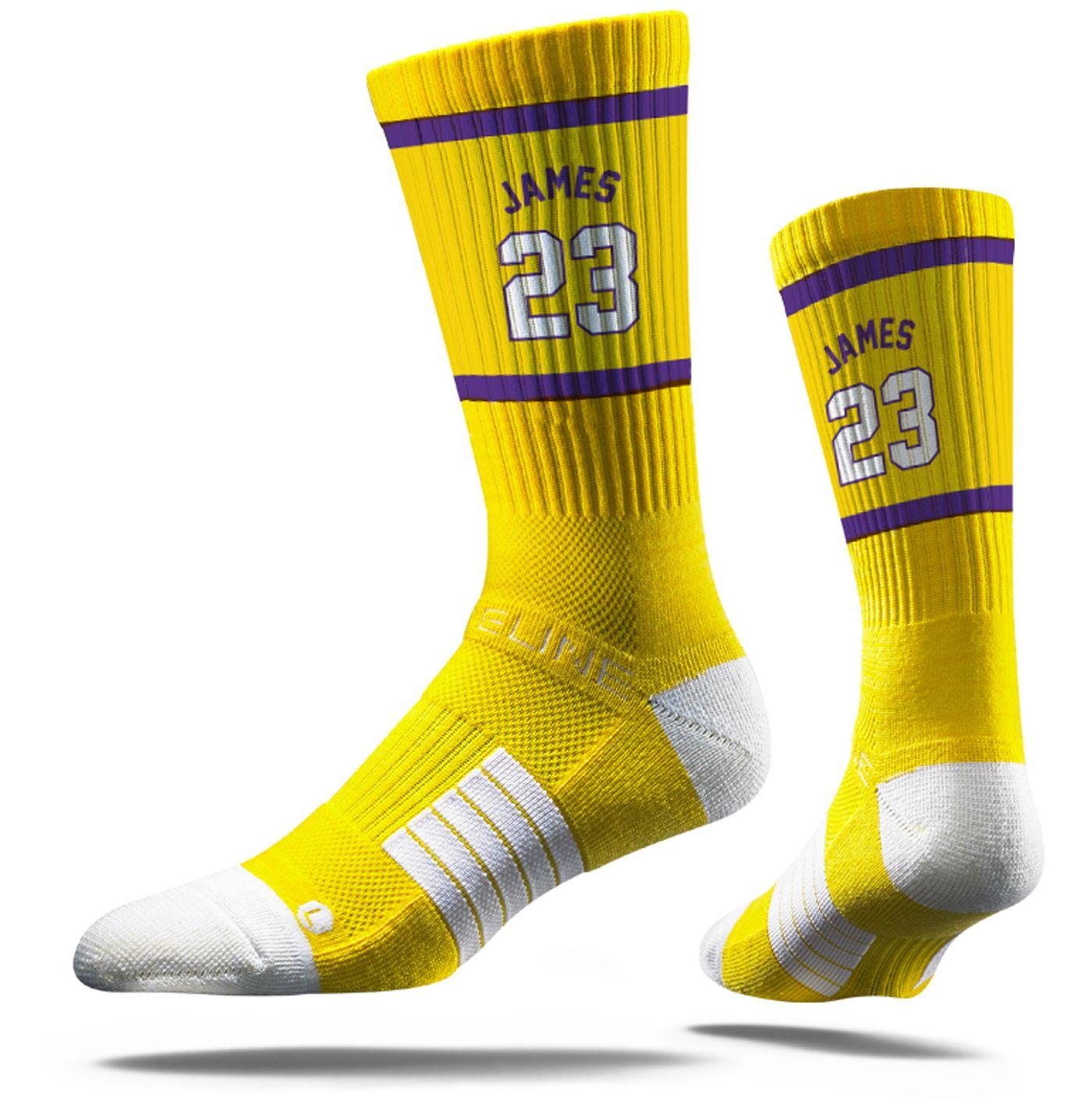 Strideline Los Angeles Lakers LeBron James Jersey Yellow Crew Socks