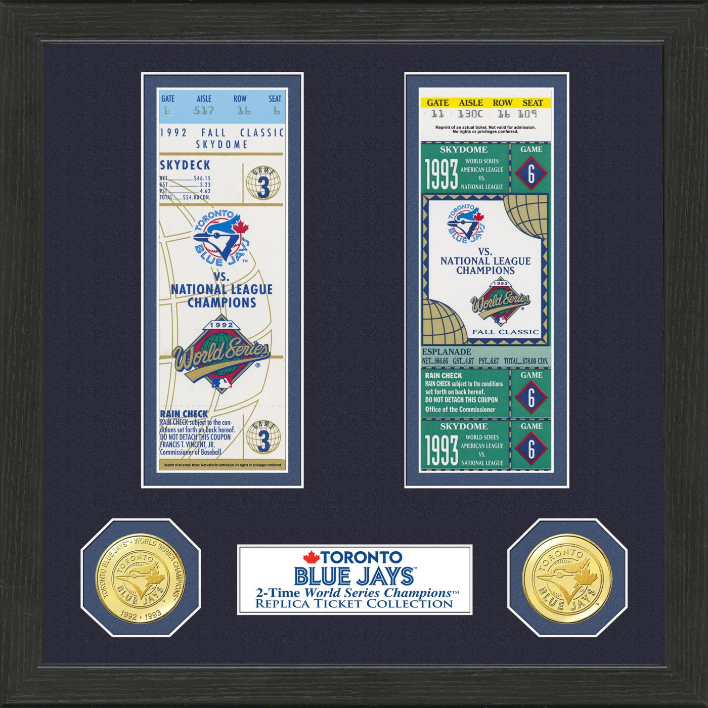 Highland Mint Toronto Blue Jays World Series Ticket Collection