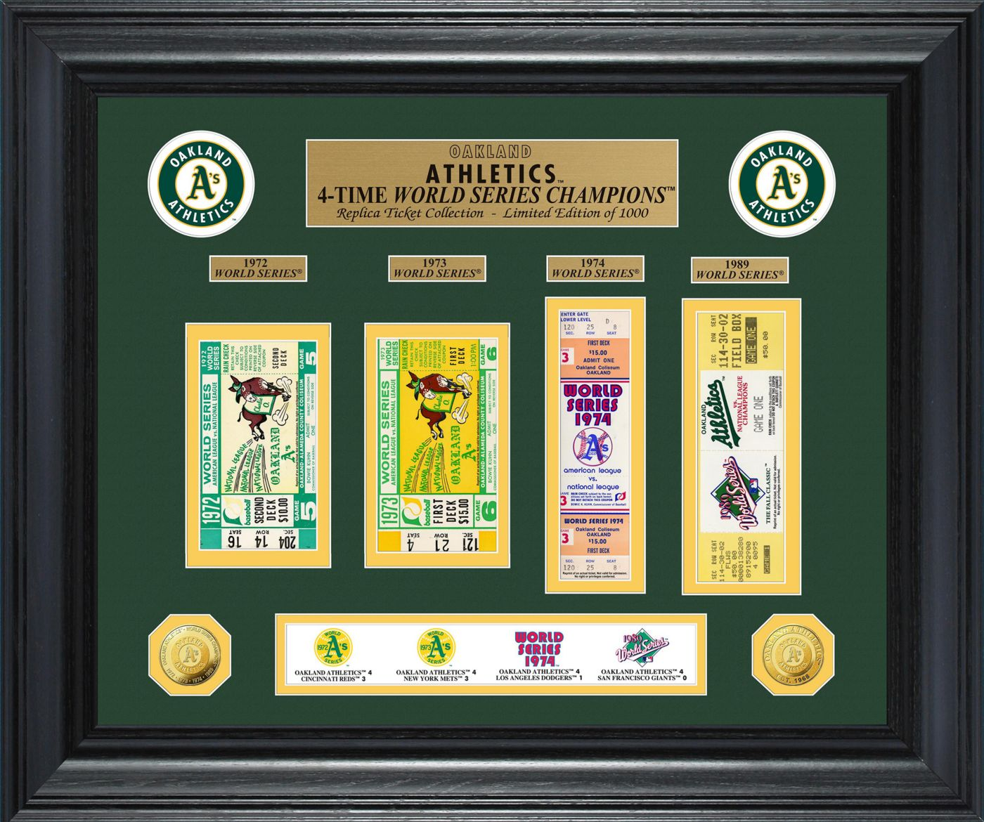 Highland Mint Oakland Athletics World Series Deluxe Gold Coin & Ticket Collection