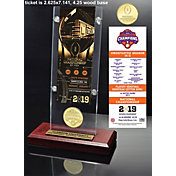 Highland Mint 2018 National Champions Clemson Tigers Bronze Coin and Ticket Desktop Acrylic Display
