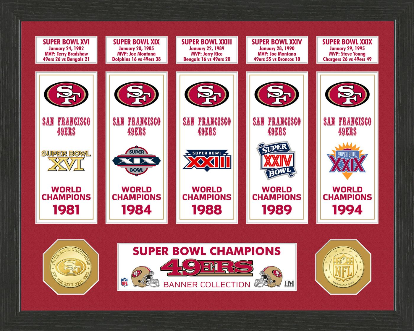 Highland Mint San Francisco 49ers Super Bowl Banner Collection Photo Mint