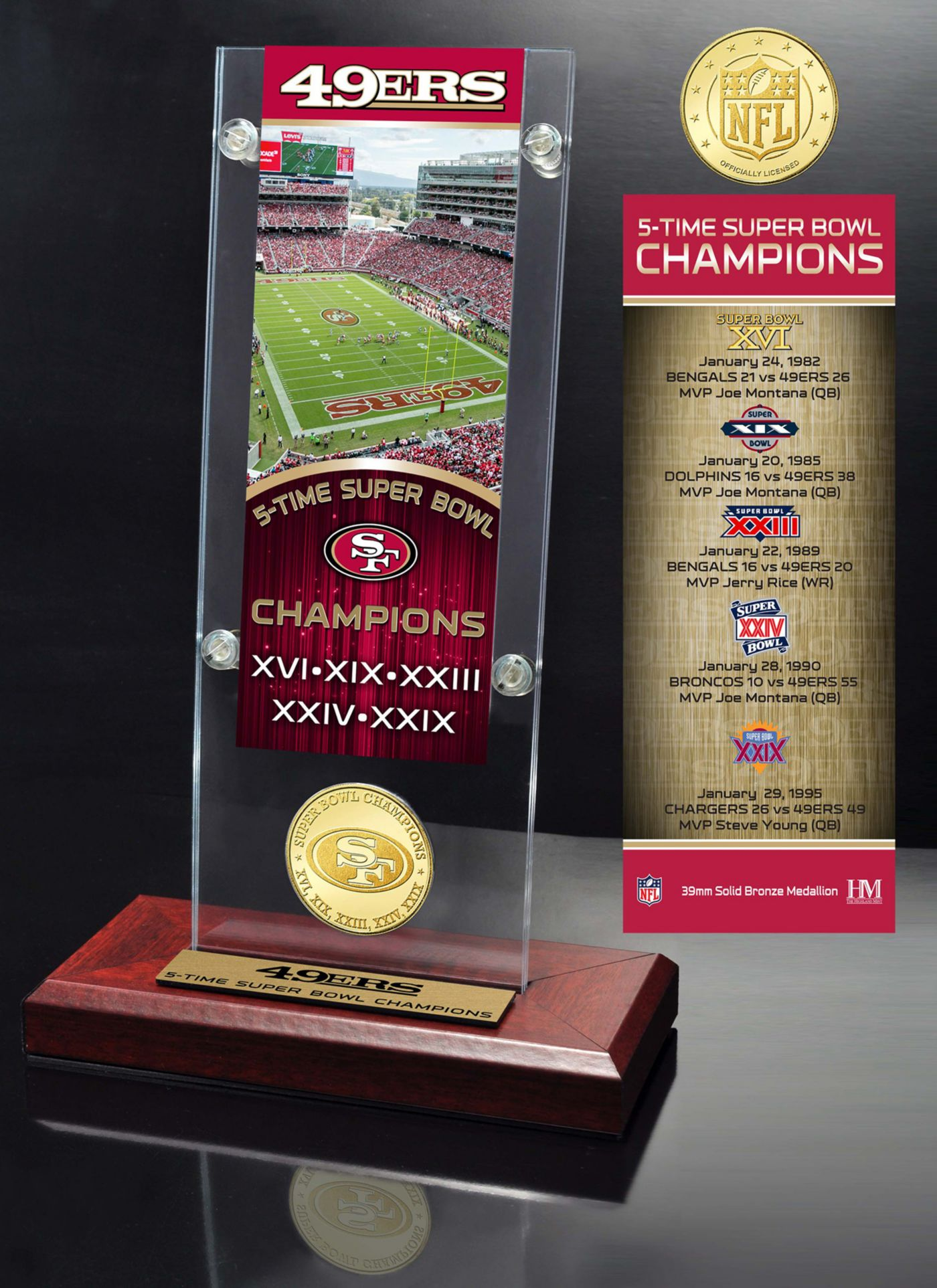 Highland Mint San Francisco 49ers Super Bowl Champions Ticket & Minted Coin Acrylic Desktop Display