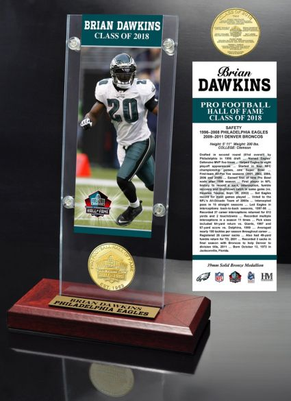 Highland Mint Philadelphia Eagles Brian Dawkins 2018 Pro Football Hall of Fame Induction Ticket & Coin Acrylic Desktop Display