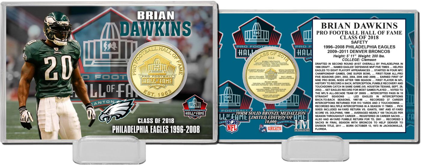 Highland Mint Philadelphia Eagles Brian Dawkins 2018 Pro Football Hall of Fame Induction Bronze Coin Card