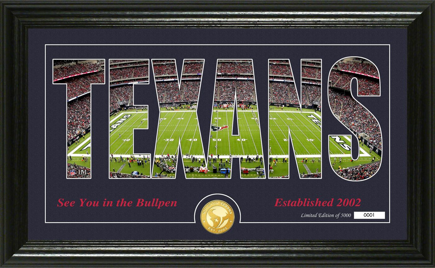 "Highland Mint Houston Texans ""Silhouette"" Panoramic Bronze Coin Photo Mint"