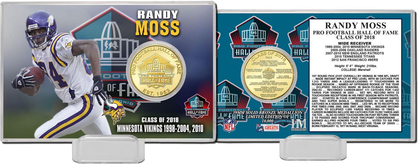 Highland Mint Minnesota Vikings Randy Moss 2018 Pro Football Hall of Fame Induction Bronze Coin Card