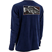 Huk Men's KC Scott Red, White & Bass Long Sleeve Shirt