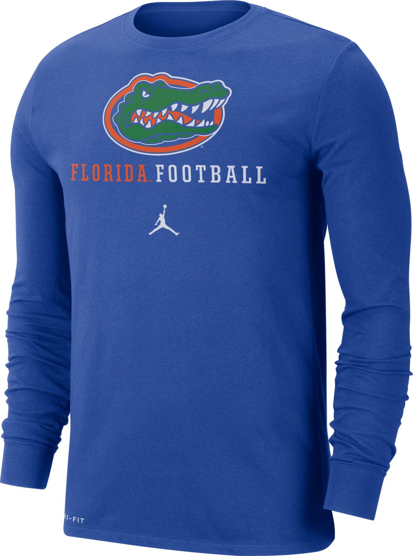 Jordan Men's Florida Gators Blue Football Icon Wordmark Long Sleeve T-Shirt
