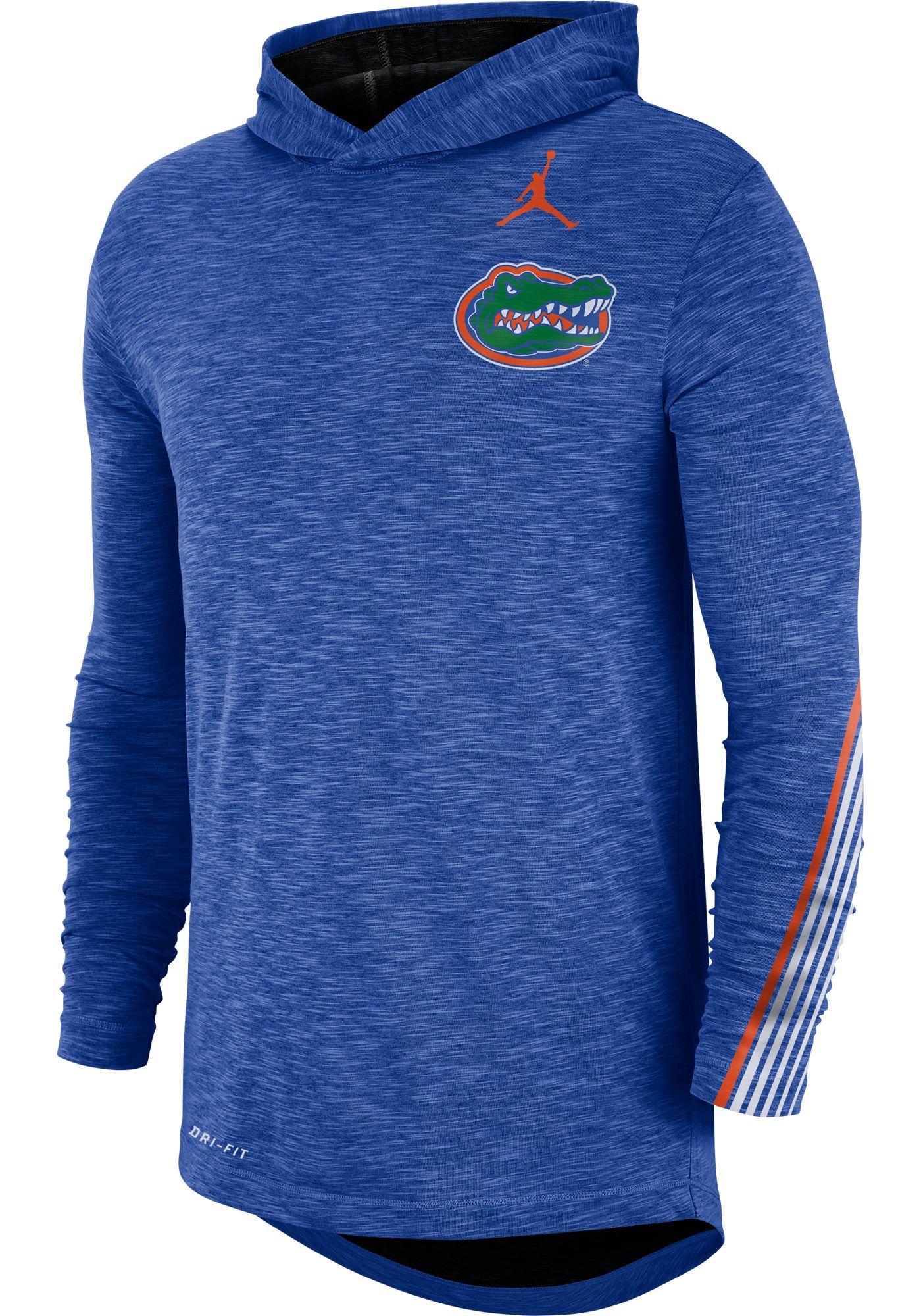 Jordan Men's Florida Gators Blue Cotton Long Sleeve Hoodie T-Shirt