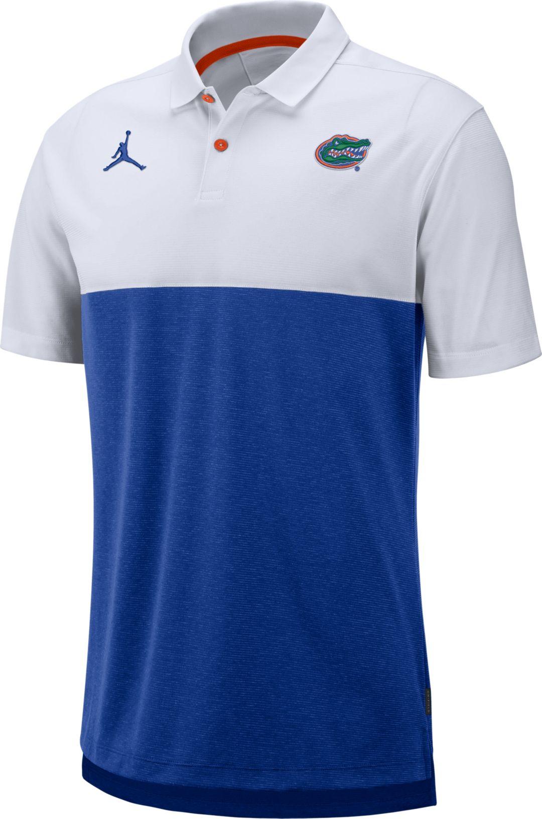 957ef5c35ea Jordan Men's Florida Gators White/Blue Dri-FIT Breathe Football Sideline  Polo 1