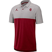 Jordan Men's Oklahoma Sooners Grey/Crimson Dri-FIT Breathe Football Sideline Polo