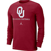 Jordan Men's Oklahoma Sooners Crimson Football Icon Wordmark Long Sleeve T-Shirt