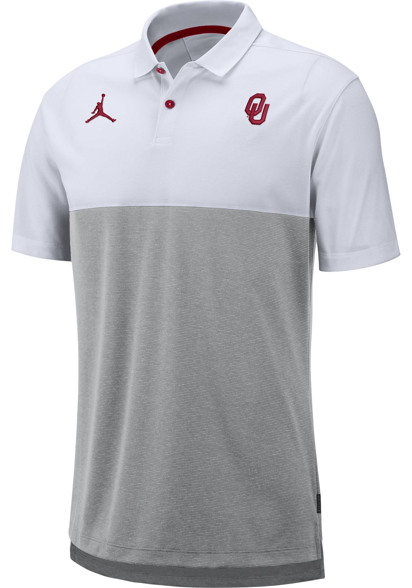 Jordan Men's Oklahoma Sooners White/Grey Dri-FIT Breathe Football Sideline Polo