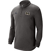 Jordan Men's Michigan Wolverines Grey Coaches Half-Zip Shirt