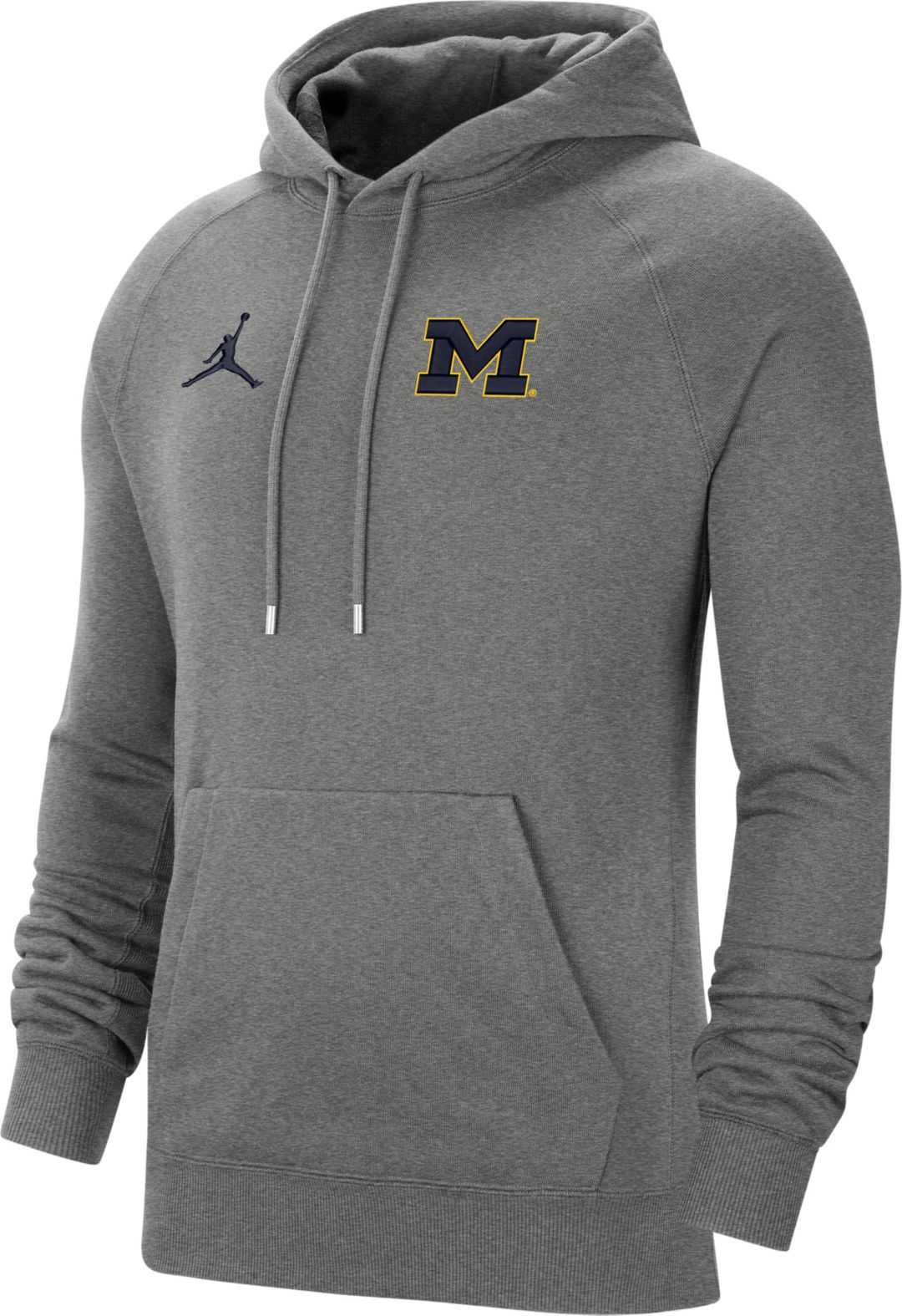 Michigan Jordan Gear >> Jordan Men S Michigan Wolverines Grey Therma Football Sideline Pullover Hoodie