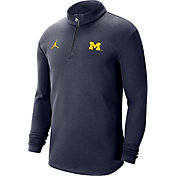 Jordan Men's Michigan Wolverines Blue Coaches Half-Zip Shirt