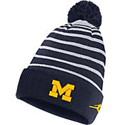 Jordan Men's Michigan Wolverines Blue Football Sideline Cuffed Pom Beanie
