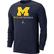 Jordan Men's Michigan Wolverines Blue Football Icon Wordmark Long Sleeve T-Shirt