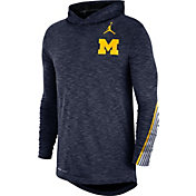 Jordan Men's Michigan Wolverines Blue Cotton Long Sleeve Hoodie T-Shirt