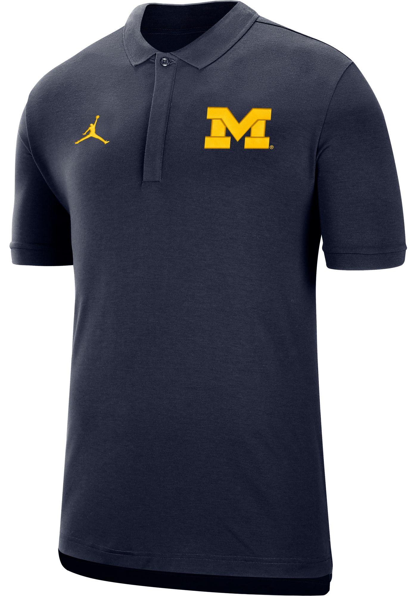 Jordan Men's Michigan Wolverines Blue Dri-FIT Elite Football Sideline Polo