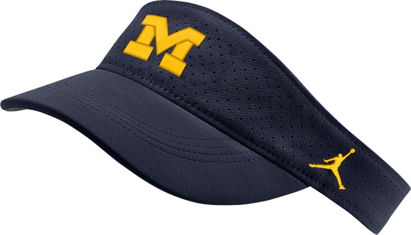 Jordan Men's Michigan Wolverines Blue AeroBill Football Sideline Visor