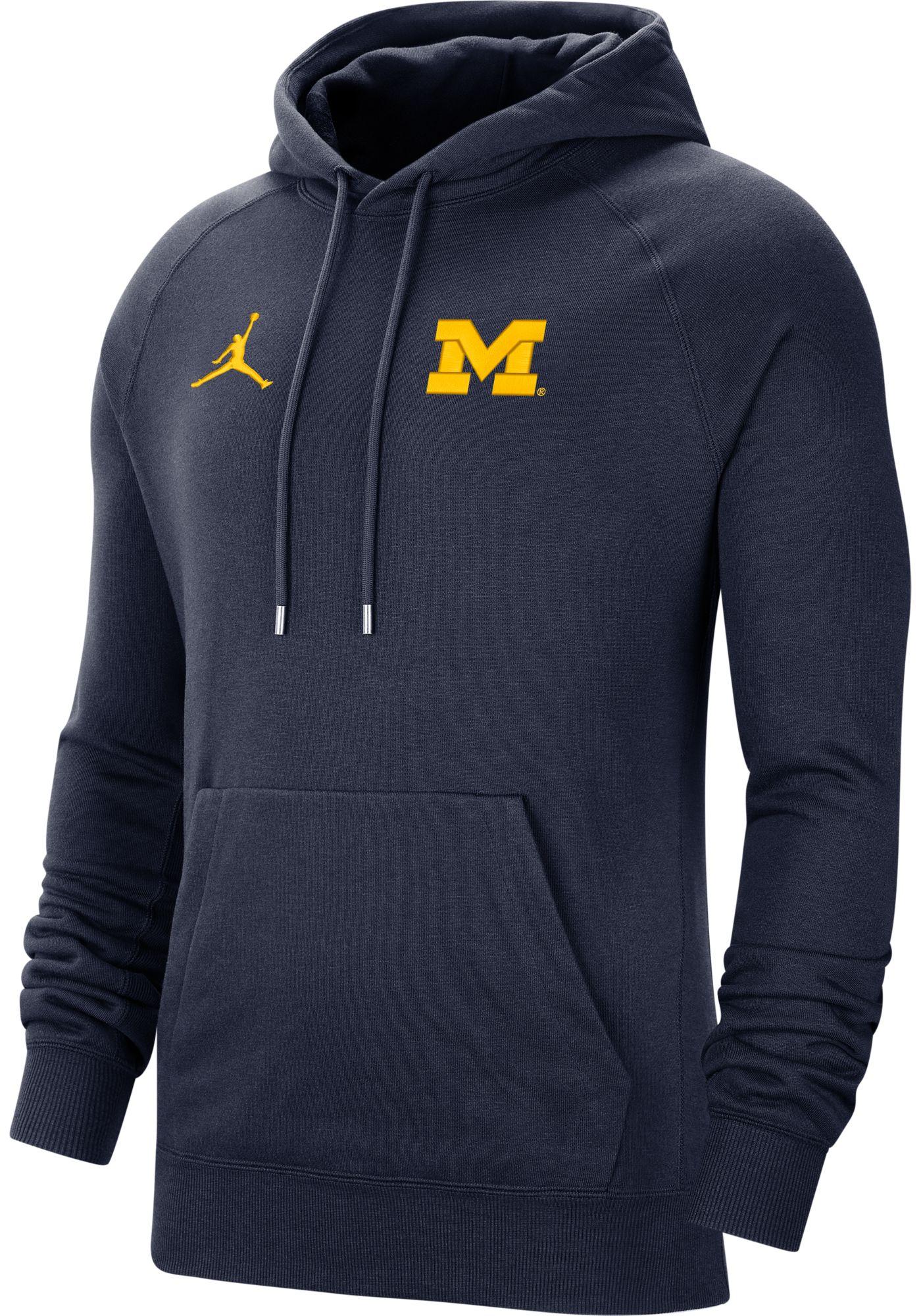 Jordan Men's Michigan Wolverines Blue Therma Football Sideline Pullover Hoodie
