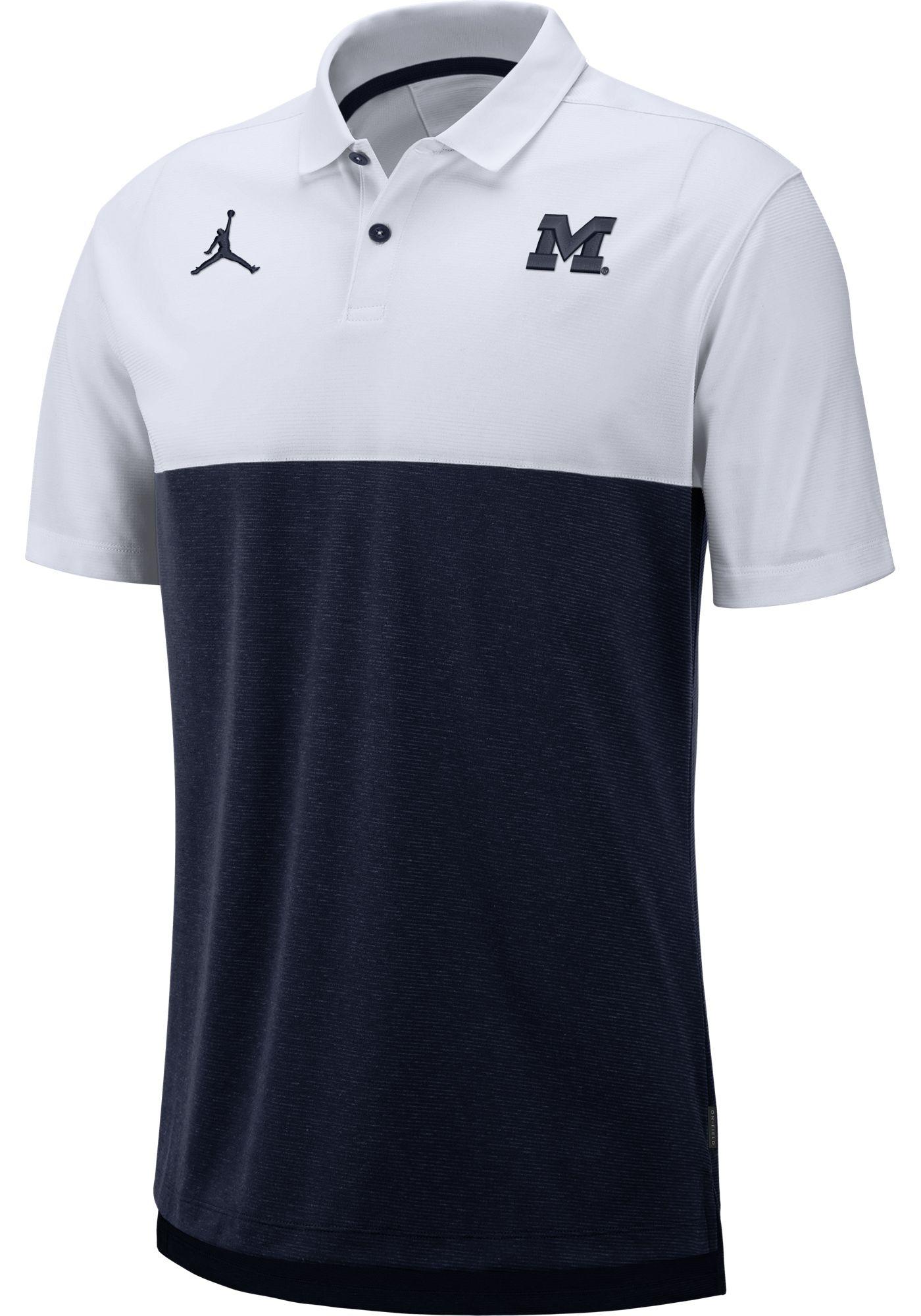 Jordan Men's Michigan Wolverines White/Blue Dri-FIT Breathe Football Sideline Polo