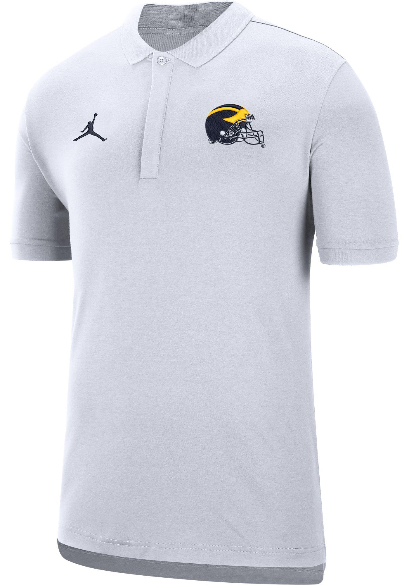 Jordan Men's Michigan Wolverines Dri-FIT Elite Football Sideline White Polo